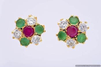 7 STONE STUDDED FLOWER SHAPED TOPS/STUDS/EARRINGS (AD RUBY EMRALD) - PCE1109