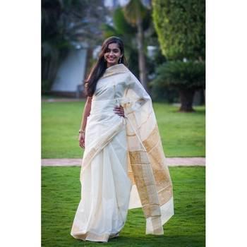 Fancy Kerala cotton saree