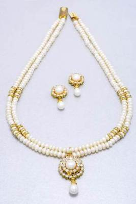 DOUBLE STRING BIG ROUND LOCKET PEARLS SET FROM HYDERABAD - PCN1016