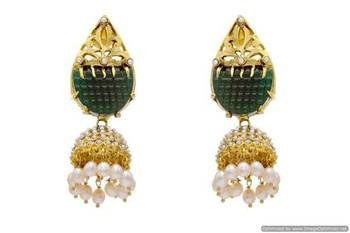ANTIQUE GOLDEN BIG STONE STUDDED ROYAL EARRINGS/HANGINGS (GREEN)  - PCAE2037