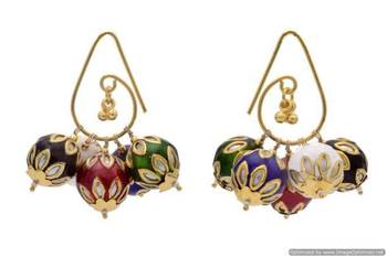 ANTIQUE GOLDEN CHANGEABLE BALLS HANDMADE BAALI EARRINGS/HANGINGS (MULTI)  - PCAE2156