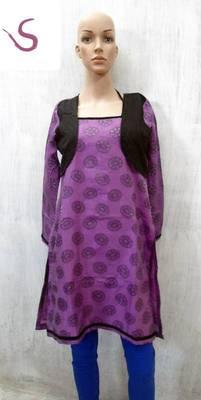 long kurti in black and mauve