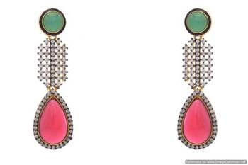 AD STONE STUDDED PAN SHAPE DROP EARRINGS/HANGINGS (GREEN RED)  - PCFE3117