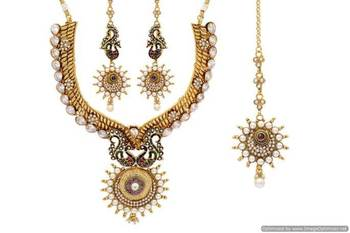 ANTIQUE GOLDEN STONE STUDDED PEACOCK THEME MEENA WORK NECKLACE SET (RED GREEN)  - PCAN4003