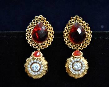 Golden Red Drop Earrings