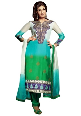 Triveni Raveena's Tri Colored Embroidered Salwar Salwar Kameez TSFLSK5015