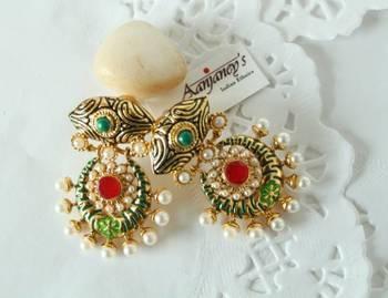 Traditional earrings jhumkas drops stone pearl designer indian handmade