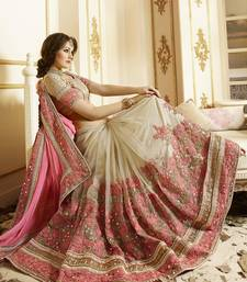 Buy light Pink embroidered georgette saree With Blouse ombre-saree online