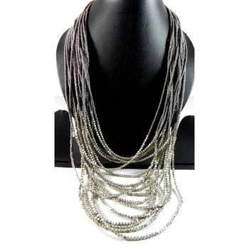 Grey Long Necklace with silver matty beads