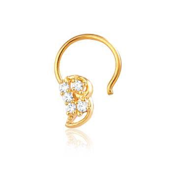 Mahi Gold Plated Lavish Grace Nose Ring With CZ Stones
