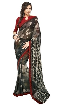 Triveni Lovely Black Colored Casual Printed Faux Georgette Indian Designer Saree