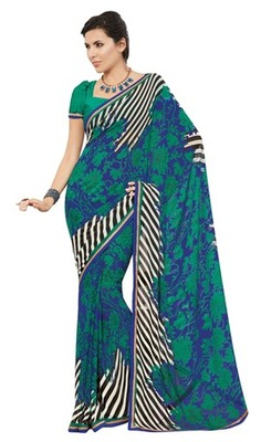 Triveni Lovely Green Colored Casual Printed Faux Georgette Indian Designer Saree