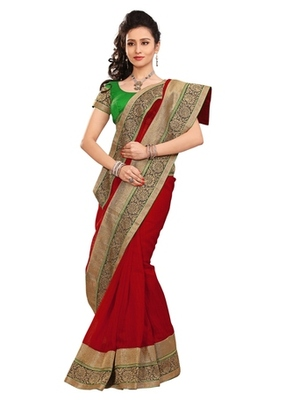 Triveni Stylish Red Colored Border Work Indian Designer Beautiful Saree