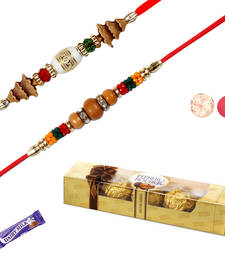 Buy five pc ferrero rocher with combo 02 rakhis rakhi-with-chocolate online