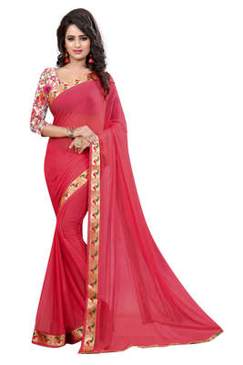 light red plain nazneen saree With Blouse