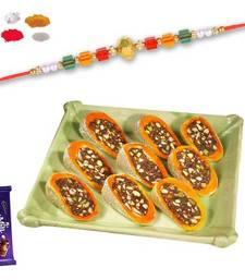Buy Kesar slice sweet with multicolor bead rakhi rakhi-with-sweet online