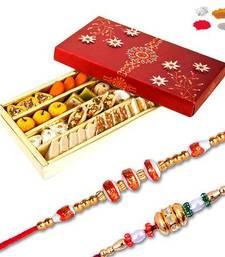 Buy Kaju mix mithai sweet with set of two bead rakhi rakhi-with-sweet online