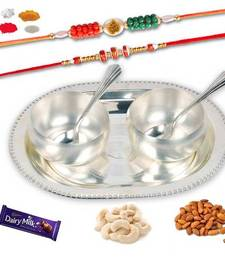 Buy Maalpani set of two premium rakhi and german silver two bowl set gift hamper with dryfruits rakhi-gift-hamper online