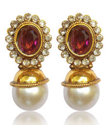 Buy Elegant Wine stone with Pearl Earring By Adiva V74WI DDS 2 stud online