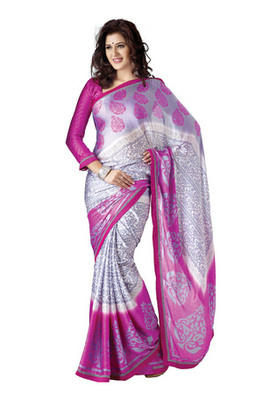 Fabdeal Casual Wear Pink & Grey Colored Chiffon Saree