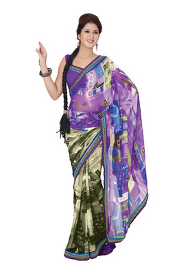 Fabdeal Casual Wear Purple Colored Georgette Saree