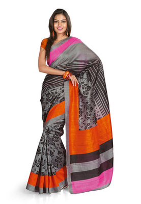 Fabdeal Casual Wear Grey & Orange Colored Bhagalpuri Silk Saree