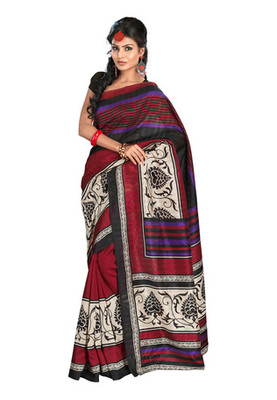 Fabdeal Casual Wear Black & Maroon Colored Bhagalpuri Silk Saree