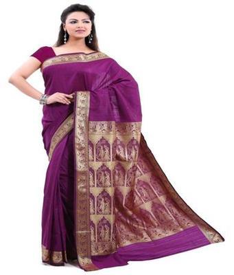 Dealtz Fashion Pink Poly Silk Saree