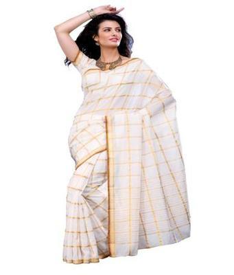 Dealtz Fashion White Cotton  Saree