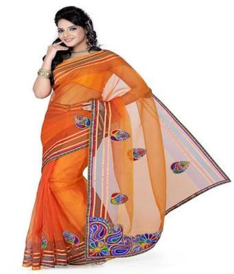 Dealtz Fashion Orange Tissue Net Saree