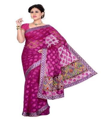 Dealtz Fashion Pink Tissue net Saree