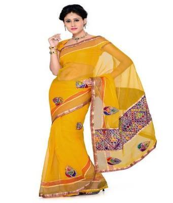 Dealtz Fashion Yellow Tissue net Saree
