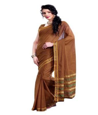 Dealtz Fashion Brown Cotton  Saree