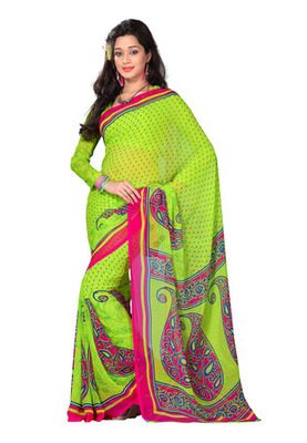 Fabdeal Casual Wear Green Colored Georgette Saree