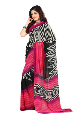 Fabdeal Casual Wear Black & Pink Colored Georgette Saree