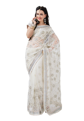 Fabdeal Party Wear White & White Colored Net & Satin Saree