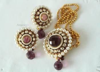 Designer Set Necklace Pendant Earrings Jhumkas Trendy Traditional Ethnic Indian Handmade Kundan Stone Pearls