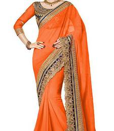 Buy orange embroidered georgette saree With Blouse bollywood-saree online
