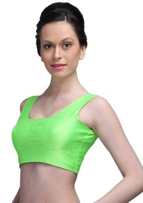 Green Polyster Royal silk Unstitched Blouse - PSB046
