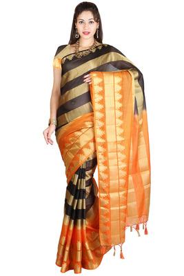 orange woven manipuri silk saree With Blouse