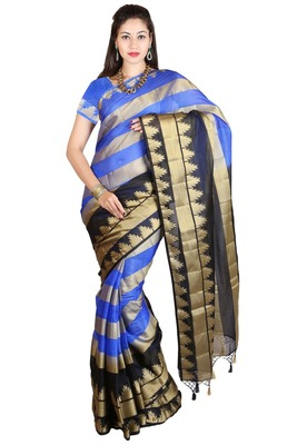 blue woven manipuri silk saree With Blouse
