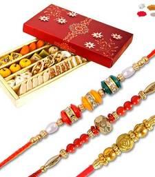 Buy Kaju mix mithai sweet with set of three premium bead rakhi rakhi-with-sweet online