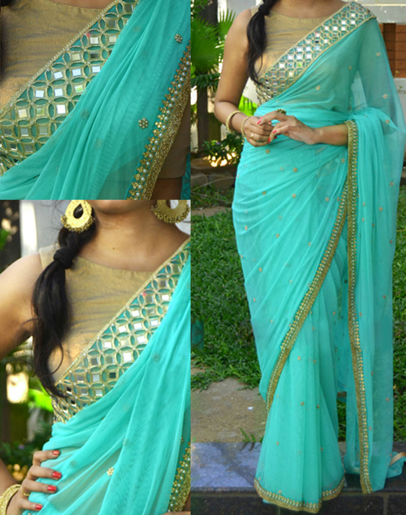 Buy Turquoise Embroidered Georgette Saree With Blouse Online