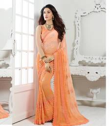 Buy Chiffon saree by Ravechi Fab (Orange) chiffon-saree online