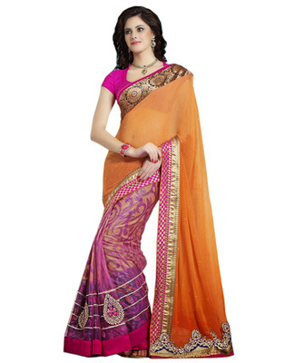 Designer Multi Color Brasso, Net, Chiffon Party Wear Saree