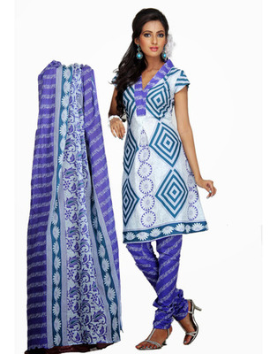 Designer White, Lavender Color Cotton Fabric Printed Dress Material
