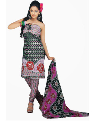 Designer Green, Pink Color Cotton Fabric Printed Dress Material