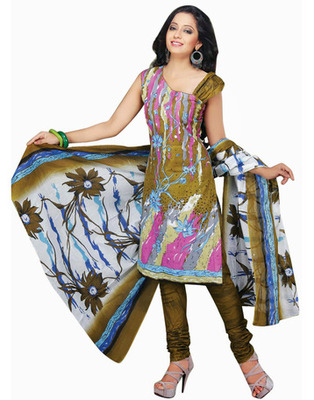 Designer Green Color Cotton Fabric Printed Dress Material