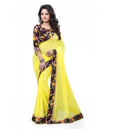 Buy Yellow printed georgette saree with blouse ethnic-saree online