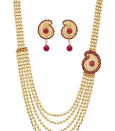 Buy ANTIQUE GOLDEN RED PEARLS SIDE LOCKET NECKLACE SET Other online